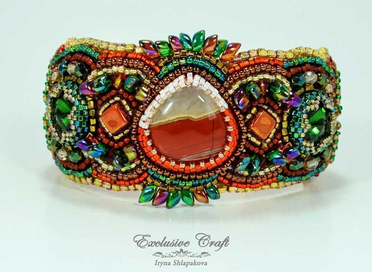 "Unique bead embroidered bracelet ""Firebird"" by Exclusive Ctaft"