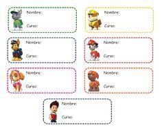 Etiquetas de la Patrulla Canina para libros de texto