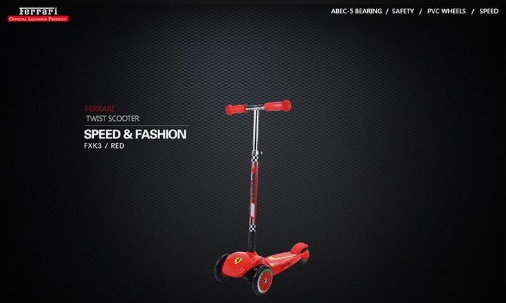 Ferrari FXK3 Kids Twist Scooter Adjustable Anti Slip Lightweight Aluminium Steering Column