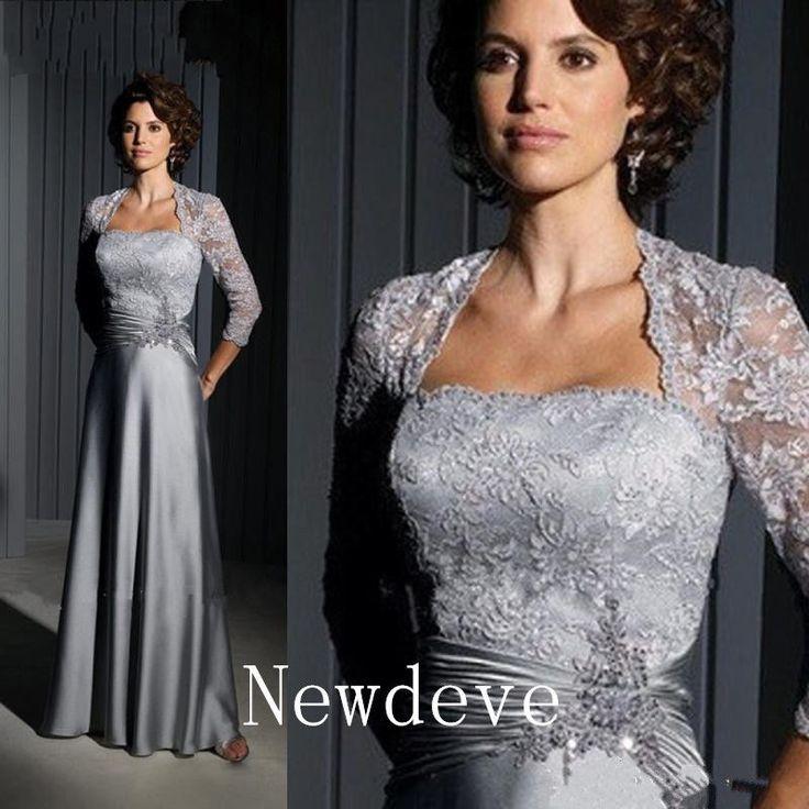 Vestido De Noche Gris Plata Encaje madre de la novia trajes Talla Grande Personalizado