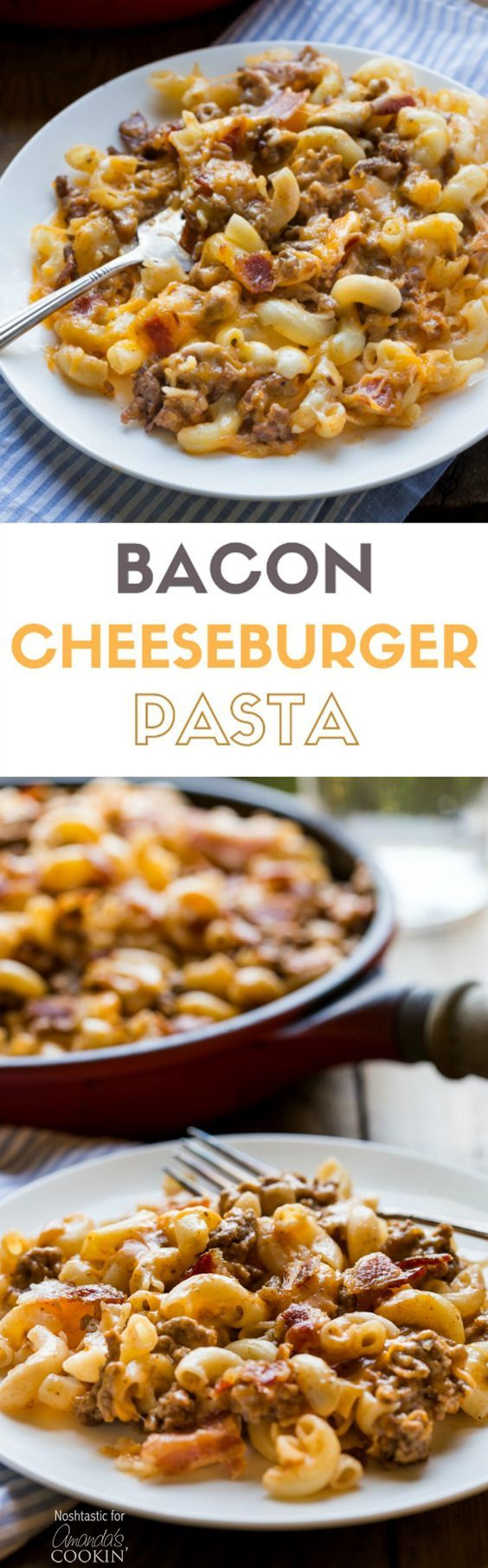 This delicious Bacon Cheeseburger Pasta combines elbow macaroni, ground beef, and bacon along with cheddar and mozzarella cheeses for a hearty weeknight family dinner!   can be made gluten free