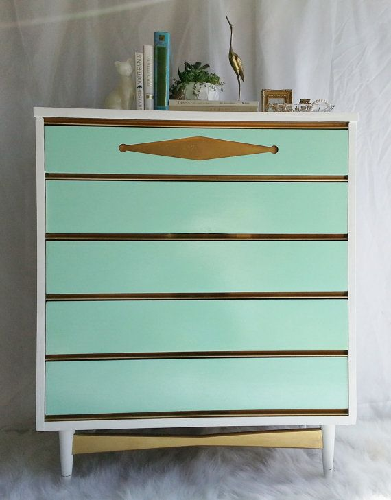 Sale...Vintage Bassett Painted Mid Century Modern by RedoneByShari, $399.00- Love these colors!
