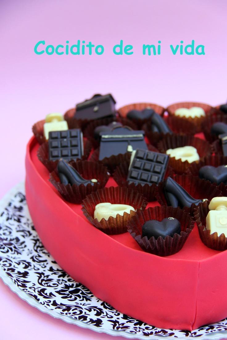 Caja de bombones caseros con bizcocho red velvet