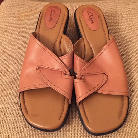 Clarks sandals / leather size 9m Clarks sandal/wedge. Leather upper, very comfy!!  Hardly worn.  Don't miss these great shows for summer!! Clarks Shoes Wedges