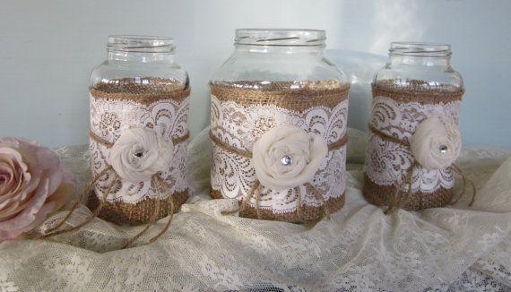Vintage Lace on Burlap , Wedding Mason Jars, Set of 3, Centerpiece-Shabby Chic Country Wedding on Etsy, $32.50