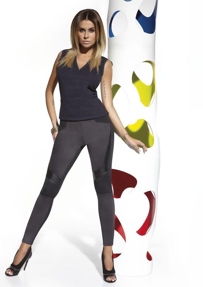 Femme Leggings noir pantalon moulant bi matière BAS BLEU MARTINA S M L