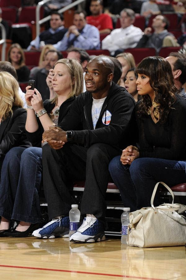 "Adrian Peterson wearing Air Jordan 13 XIII Shoes Flint. ""All Day"" Adrian Peterson courtside for the Rockets and Thunder in the ""Flint"" Air Jordan 13s Flints."