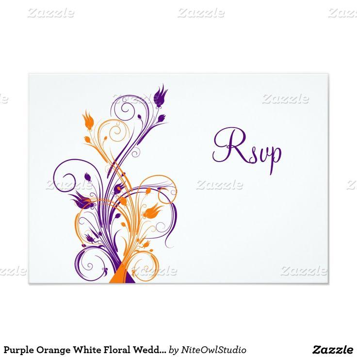 Purple Orange White Floral Wedding Reply Card