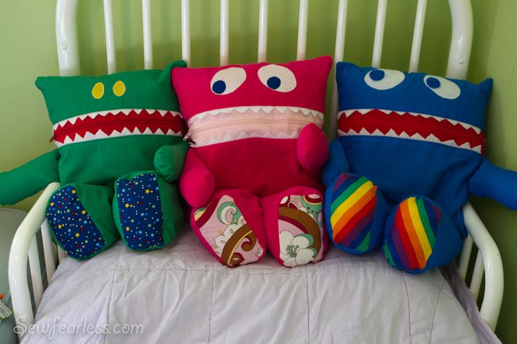 Pajama Eaters pattern - These helpful and huggable monsters live on your child's bed and like to eat clean pajamas. Adorable!