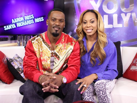 """POWER COUPLE ALERT!  NFL cornerback Aaron Ross and Olympic sprinter Sanya Richards Ross, take a breather at the Studio where they talk about their reality show """"Glam & Gold"""" and debate which is better -- winning a Super Bowl or an Olympic gold medal!"""