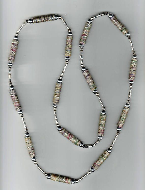 One-of-a-kind Handmade Necklace with varigated fiber bead