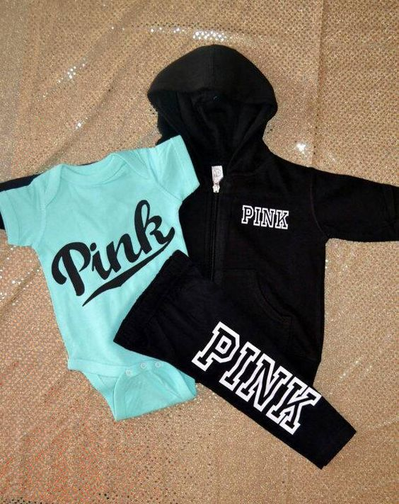 This is made to order! Feel free to chose your own colors for shirt and text!! **Please note, this is not victoria secret, they do not make baby/toddler/youth clothes! Pink inspired outfit!! This is for a teal onesie/shirt, black leggings, and black zip up hoodie. Teal onesie has cursive