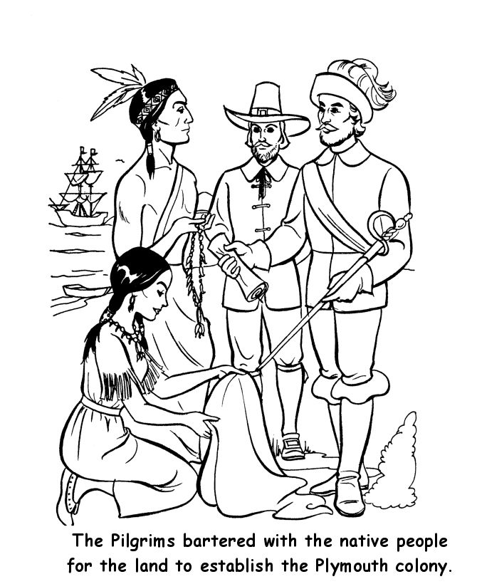 Pilgrims Working Free Coloring Pages