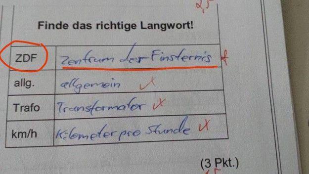 """Keine Ahnung, wer ihm die geheime Bedeutung von """"ZDF"""" verraten hat.   27 Schüler, die bei dieser Klassenarbeit nicht ihren besten Tag hatten"""