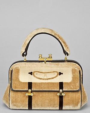 Roberta Di Camerino C.1960s Beige & Brown Velvet Trompe Loeil Buckle Handbag GED5mQ