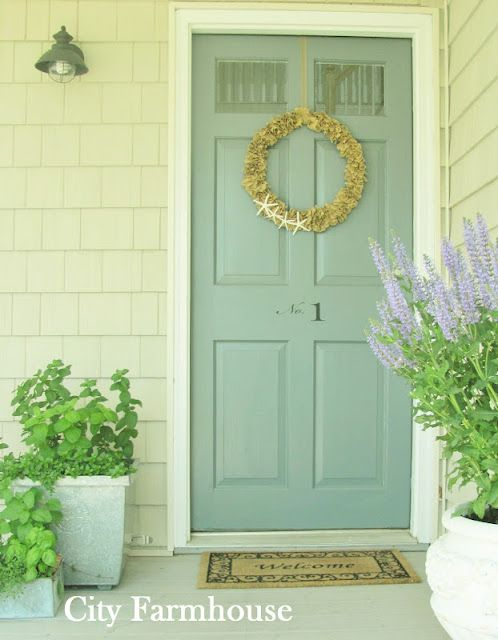 Front door color Charlotte Slate by Ben Moore.