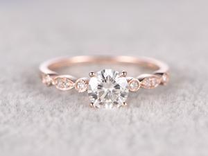 6x8mm Radiant Cut brilliant Moissanite Engagement ring Rose gold,Diamond wedding band,Gemstone Promise Bridal Ring,Ball-Prong,Anniversary