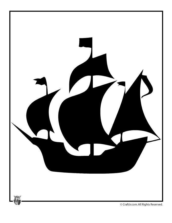 Thanksgiving Mayflower Template Woo Jr Kids Activities Ship Silhouette Silhouette Stencil Thanksgiving Templates