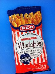 Have you tried Whataburger's newest addition to H-E-B grocery store shelves?  I'm in love with Whatafries, crispy little darlings, that look just like a regular French Fry, but they are crunchy, like potato sticks.  And at 2 for 5.00, the price is right.  They are probably great with dip, but I've just been eating them right outta the bag. - Houston Foodlovers