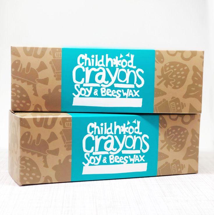 Custom printed boxes for @achildhoodstore 's Soy & Beeswax Childhood Crayons. The natural kraft brown background in the artwork allows for vibrant colors and consistent design. . The contents will include handmade soy and beeswax crayons.