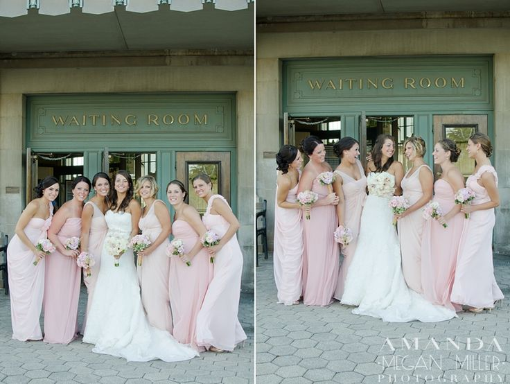 Wedding Bells: Jill & John: Joliet Union Station » Amanda Megan Miller Photography, train station wedding, blush pink bridesmaids, blush pink bridesmaid dress, blush pink wedding,