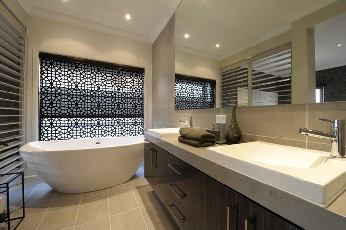 Tiles colour, vanity and window covering