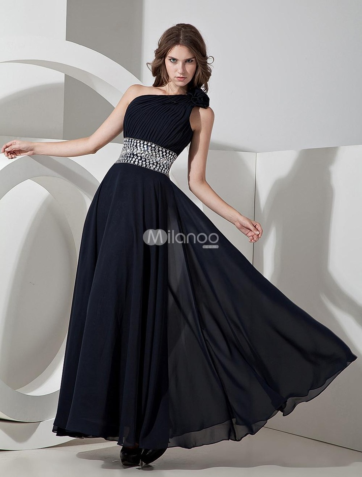 Dark Navy Blue Chiffon One Shoulder A-line Prom Dress. A ...