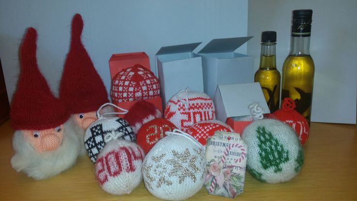 X-mas balls, St.Clauses and vanilla extract - even the boxes and the lables are handmade by me. X-mas gifts 2014 for family and friends