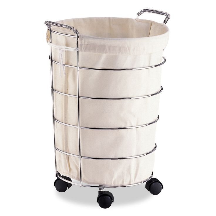 Featuring casters and handles on top for easy mobility, this rolling laundry basket has a durable metal frame and includes a pull-out canvas bag for convenience. This chrome-finished laundry basket it both versatile and durable.