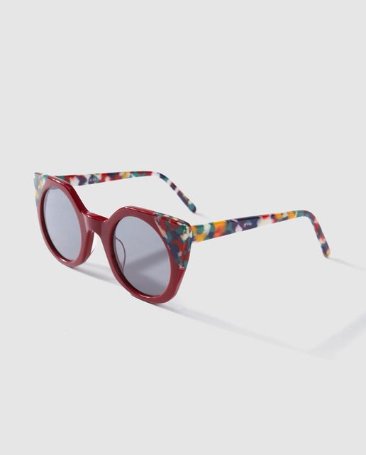 41615cd1 Gafas de sol de mujer Jo & Mr. Joe cat eye en rojo con estampado multicolor