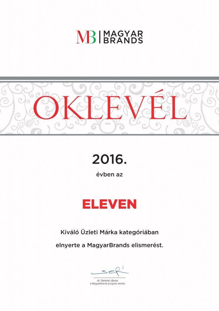 MagyarBrands Award for Eleven Ltd