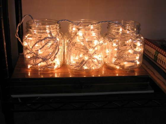 Beautiful<3: Lamps, Ideas, Bottle Lights, Trav'Lin Lights, White Lights, Christmas Lights, Holidays Decor, Mason Jars Christmas, Mason Jars Lights