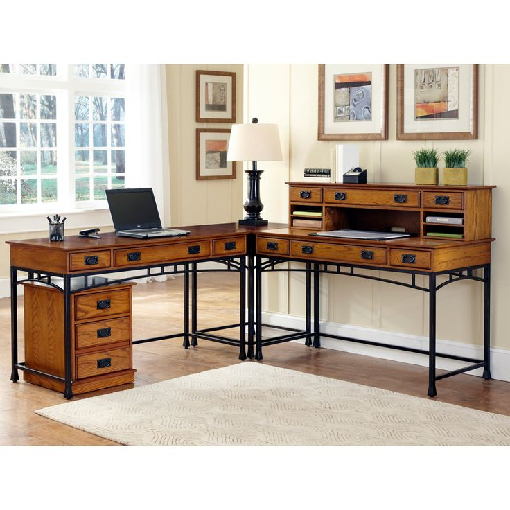 home styles modern craftsman corner lshaped desk with optional mobile file from hayneedle