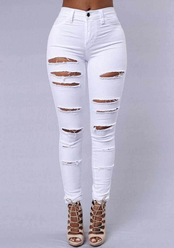 Torn High Waist Push-Up Skinny Jeans