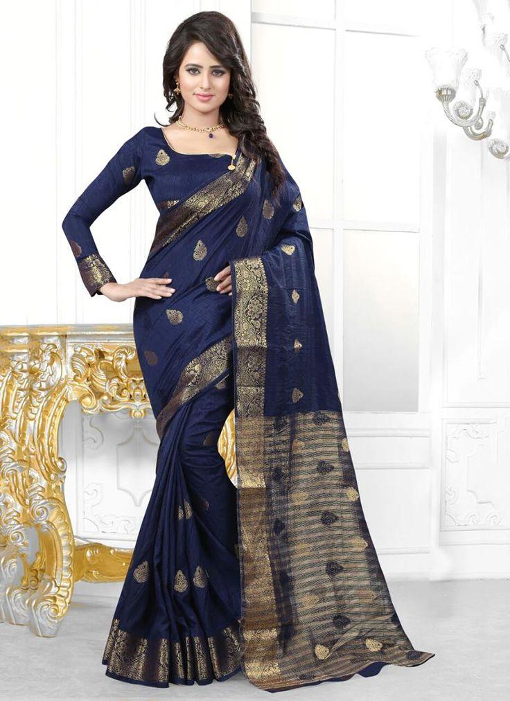 Online saree shopping made easy! Shop this debonair navy blue designer saree for…