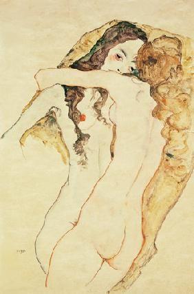 Egon Schiele - Deux femmes dans un embrassement