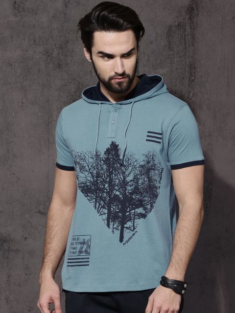 9a619da7bc90 Buy Roadster Men Blue Printed Hooded T Shirt - Tshirts for Men 2308323