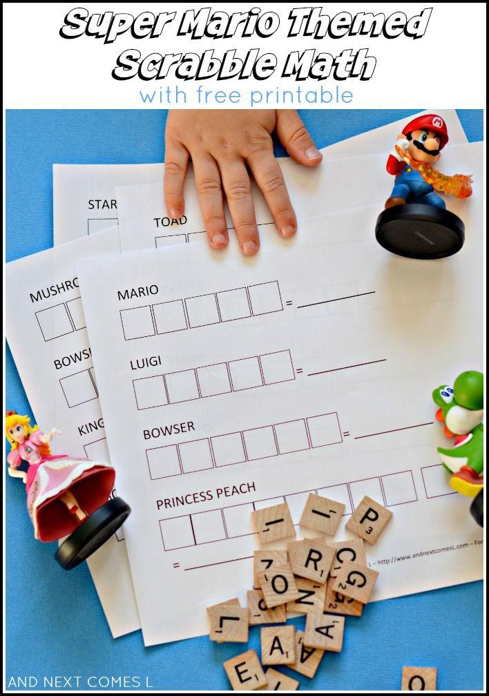 Super Mario Themed Scrabble Math Free Printable