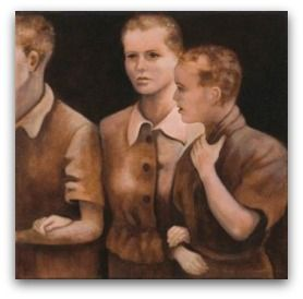"""Title: Like Sheep Before their Shearers. From the artist: For the Jews who even survived the train ride to #Auschwitz, the Nazis had a strict process. They would divide the males and females and then choose who would go straight to the ovens or who would work. Those selected for labor were given an old dress and boots. Their hair was chopped off crudely and """"deloused."""" These three young shorn and shocked women stood in a line of hundreds. #Holocaust"""