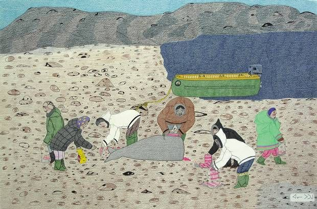 Title: Family Gathering Whale Meat (Annie Pootoogook)