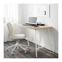 IKEA - LINNMON / LERBERG, Tafel, beige/wit, , Het tafelblad is bedekt met een matte verf die beschermt tegen stoten en krassen, en het oppervlak tegelijkertijd zacht en glad maakt.Voorgeboorde gaten voor poten; eenvoudig te monteren.Board-on-frame is een sterk en licht materiaal met een frame van hout, spaanplaat of hardboard en een vulling van gerecycled papier. Je hebt dus minder grondstoffen nodig en het is makkelijk te transporteren, waardoor het milieu minder belast wordt.