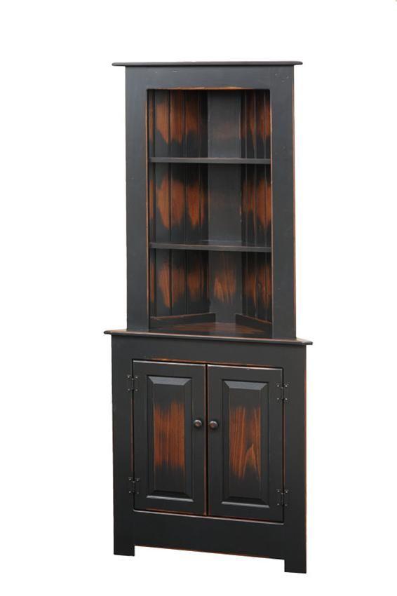 Farmhouse Corner Hutch | Pine Wood Hutches - Amish Furniture 1250