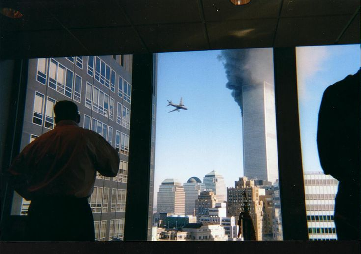 A rarely seen perspective of the second plane hitting the World Trade Centre