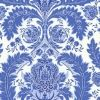 A graceful pattern arrangement of leaves and budding flowers makes up this very handsome damask wallpaper. Shown here in blue and white. Other colours available. Please request sample for colour match. Paste the wall.