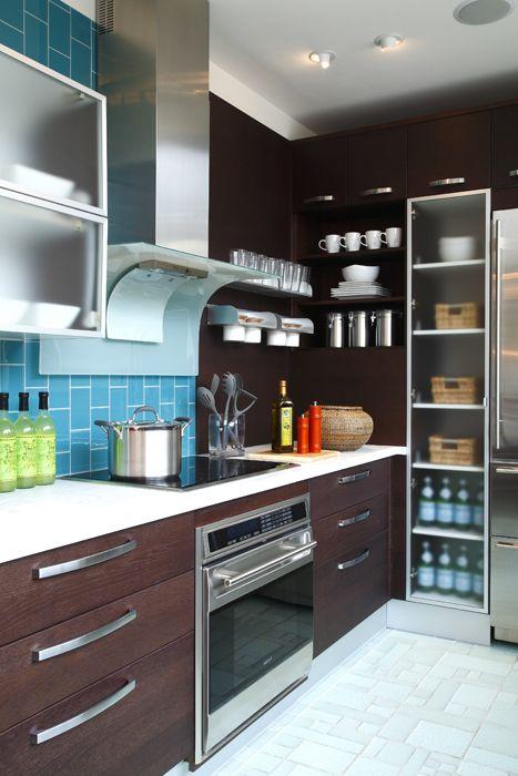 contemporary kitchen, blue glass tile