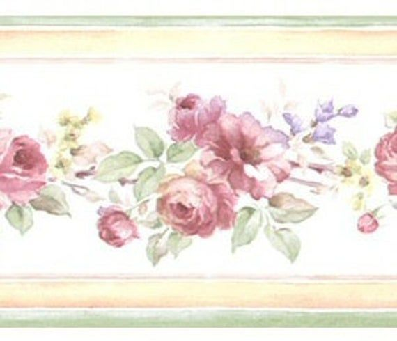 Narrow Floral Mini Print Wallpaper Border Pf79503 Etsy Floral Wallpaper Border Vintage Floral Wallpapers Wallpaper Border
