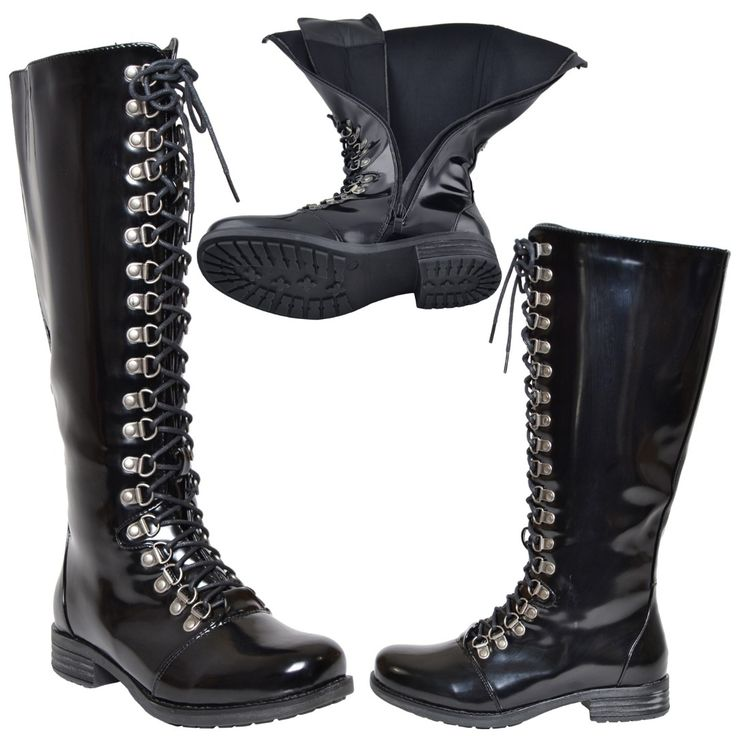 Womens Knee High Boots Lace Up Combat Casual Comfort Shoes black