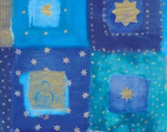 "Decopatch Decoupage Paper Mache ""Blue Gold Stars Swirls & Design"" 810"