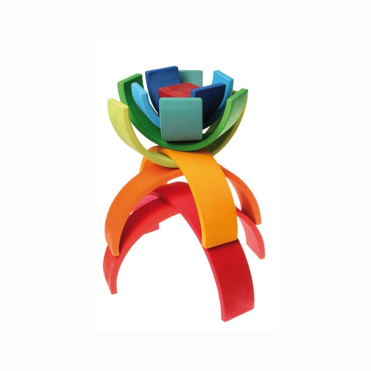 The large 12 piece Rainbow toy from Grimm's. Toddlers stack, sort and build, while older children make dolls cradles, fences, tunnels, bridges and sculptures