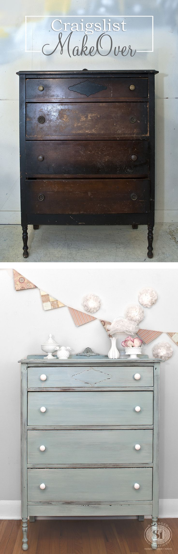Before & After Craigslist Vintage Dresser Makeover | Layered Milk Paint | Miss Mustard Seed's Eulalie's Sky and Grain Sack | Salvaged Inspirations